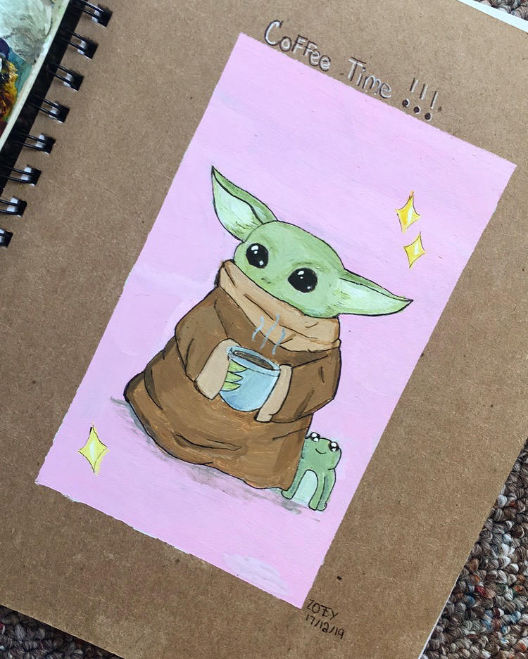 Baby Yoda With Coffee By Doodlesalatte On Deviantart