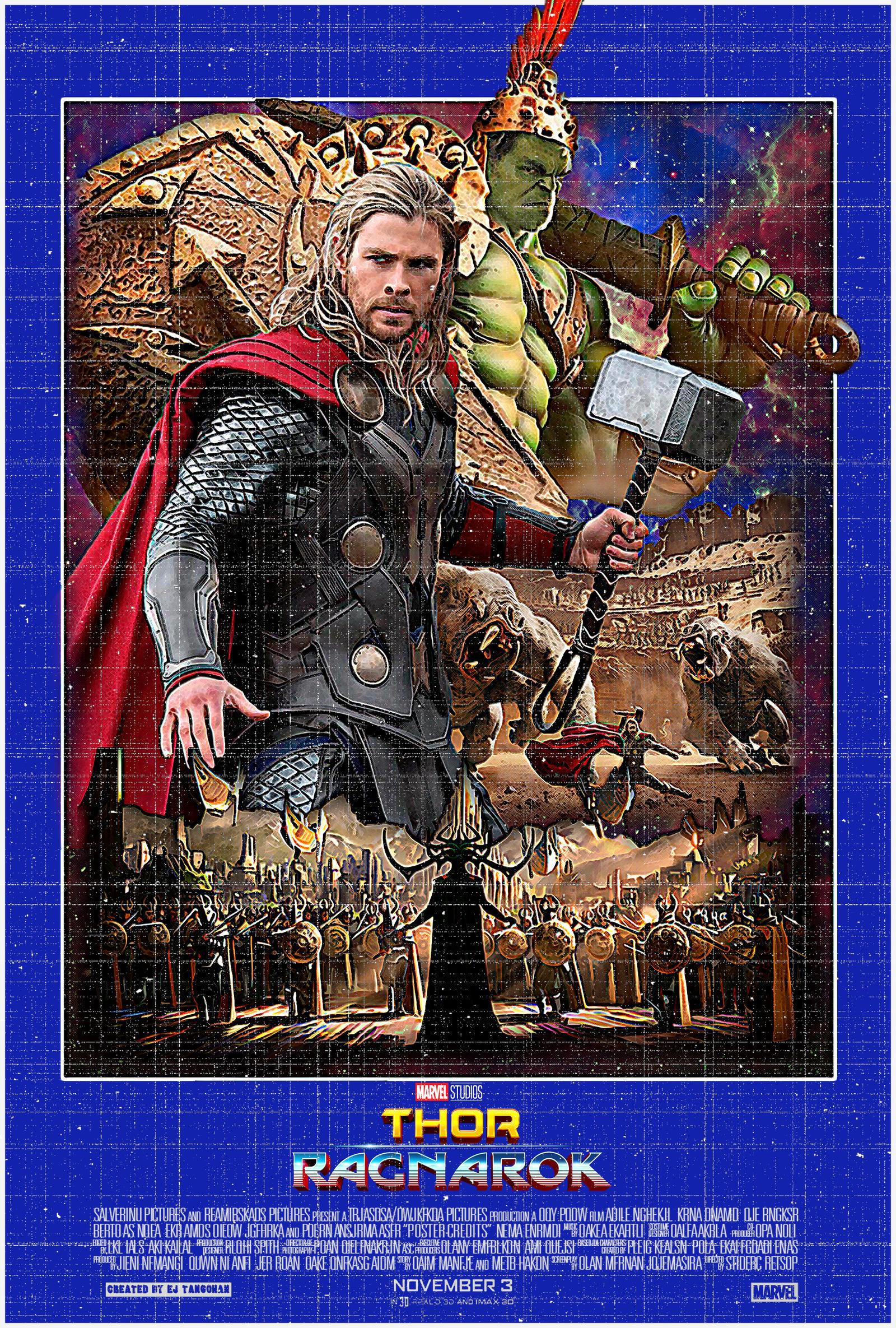 Thor Ragnarok 80s aged poster by EJTangonan