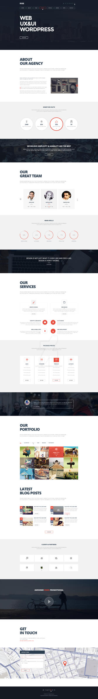 RISE - OnePage Agency Portfolio Template by wnabcreative