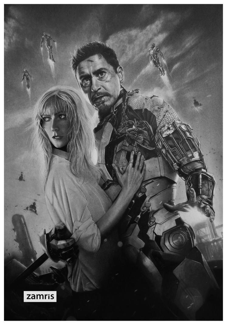Tony Stark and Pepper Potts - Iron Man 3 by xamree