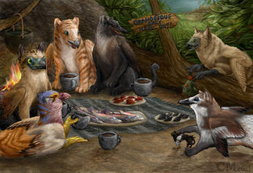 Grandesque Gryphlet Tea Party by Ciameth