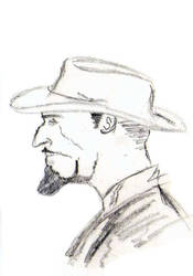 Pencil sketch of a western man by haiujwal