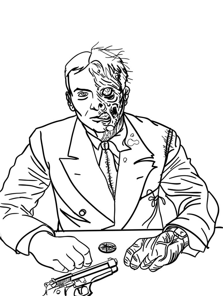 Batman dark knight coloring pages - Two Face Line Art By Toekneearrows D4l909g