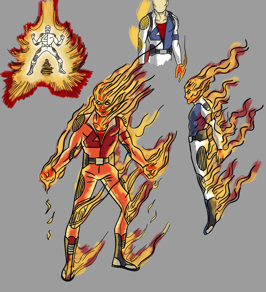 Human Torch Redesign by toekneearrows