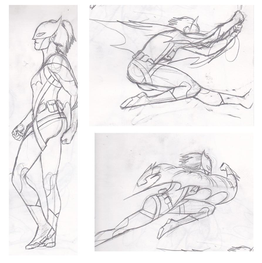 Batgirl Redesign Sketches by toekneearrows