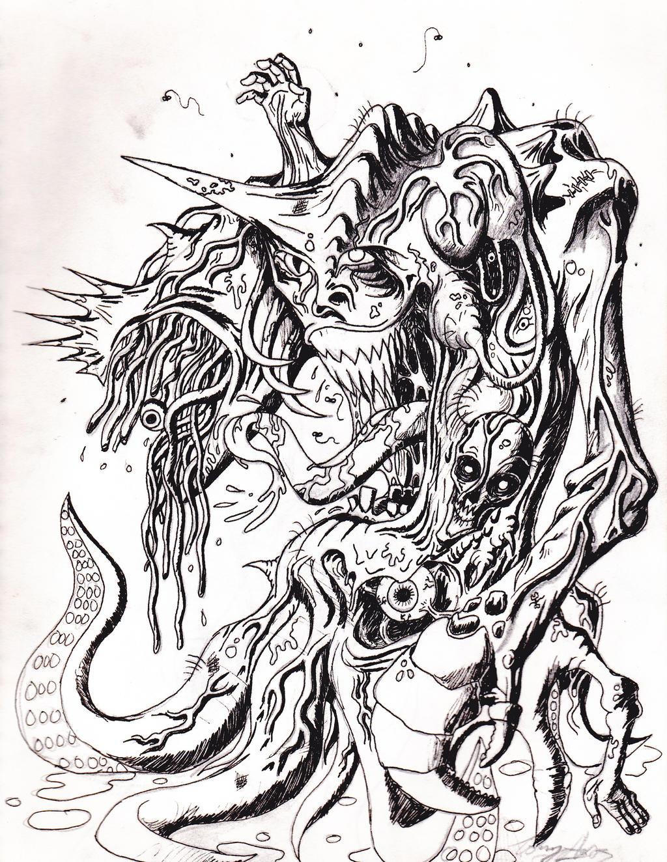 Old Monster Drawing by toekneearrows
