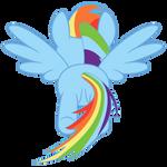 Rainbow Dash flying, rear view
