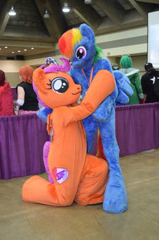 Scootaloo fursuit/cosplay with Rainbow Dash