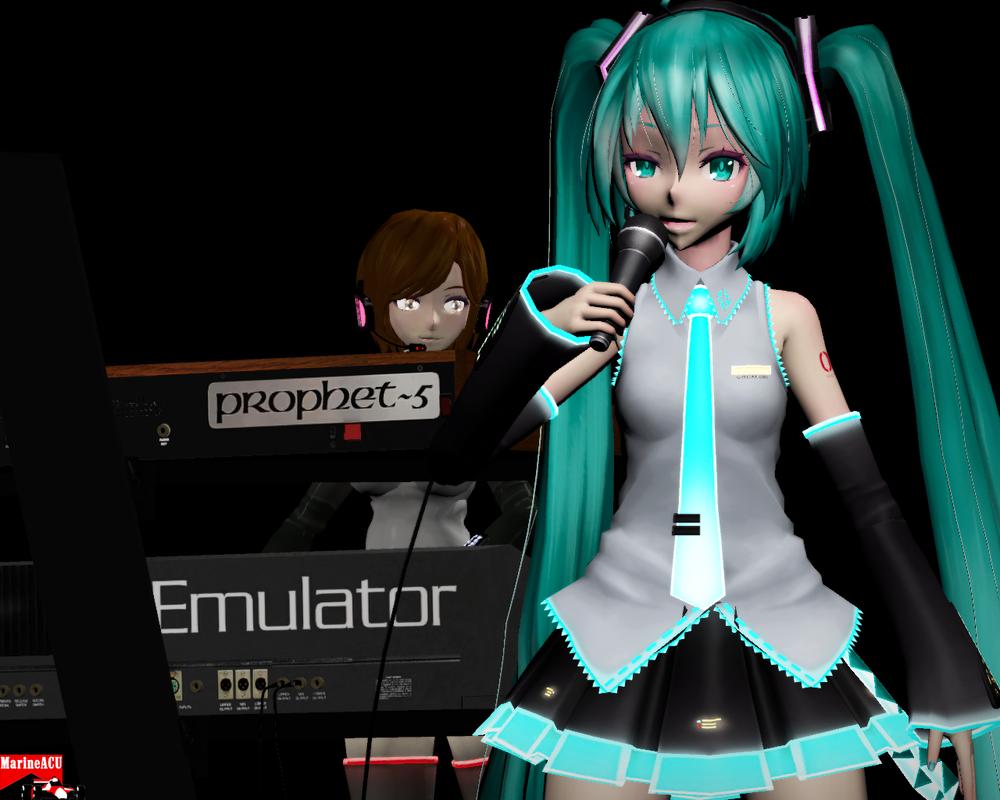 Miku and Meiko with synths by MarineACU
