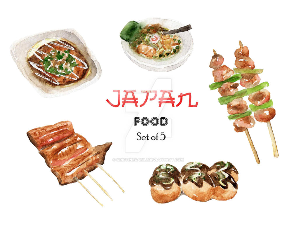 JAPAN Food Watercolor by kristinecabili