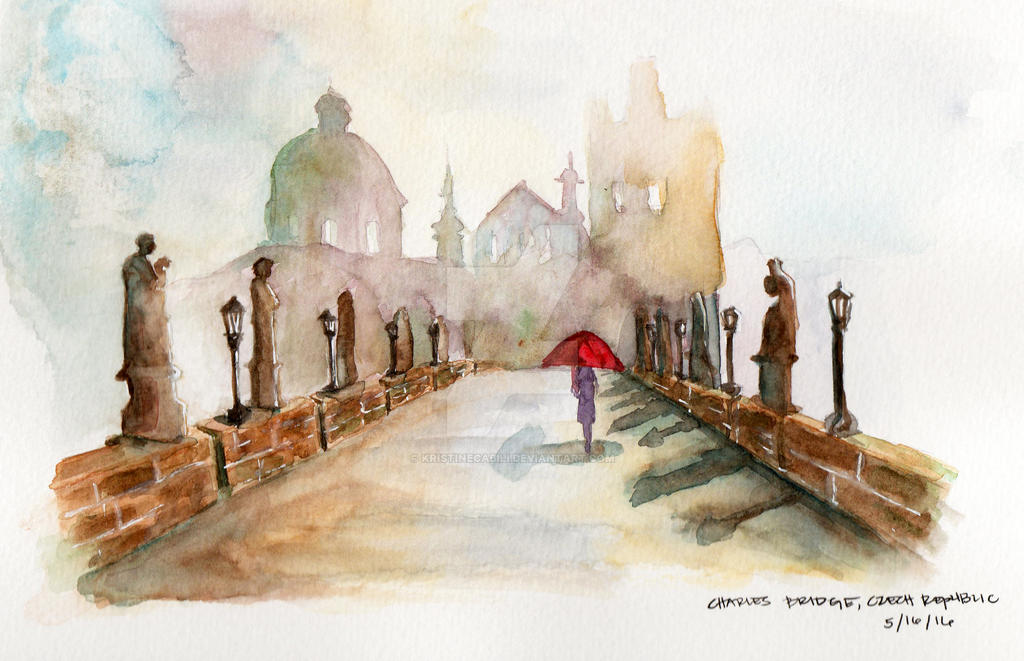 Charles Bridge Watercolor by kristinecabili