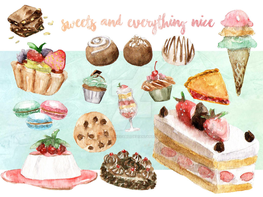 Sweets Watercolor Clip Art by kristinecabili
