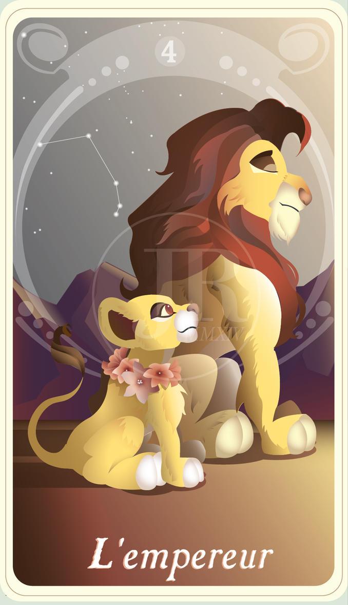 {The Princess Tarot} 'L'empereur: Simba and Kiara' by suisei-ojii-sama