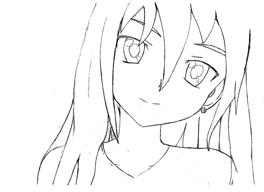 Line Art Hair : Line anime with hair lineart girl long by