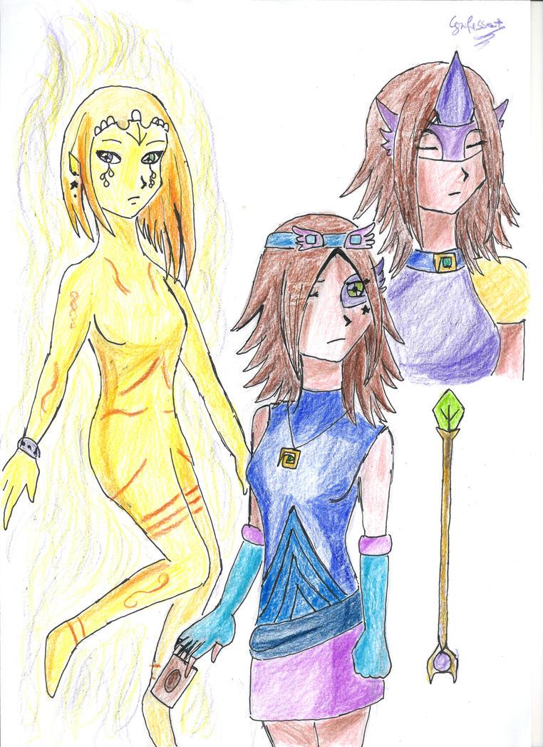 Saori And Astrea (OCs for Yu gi oh Zexal) by Grifessa