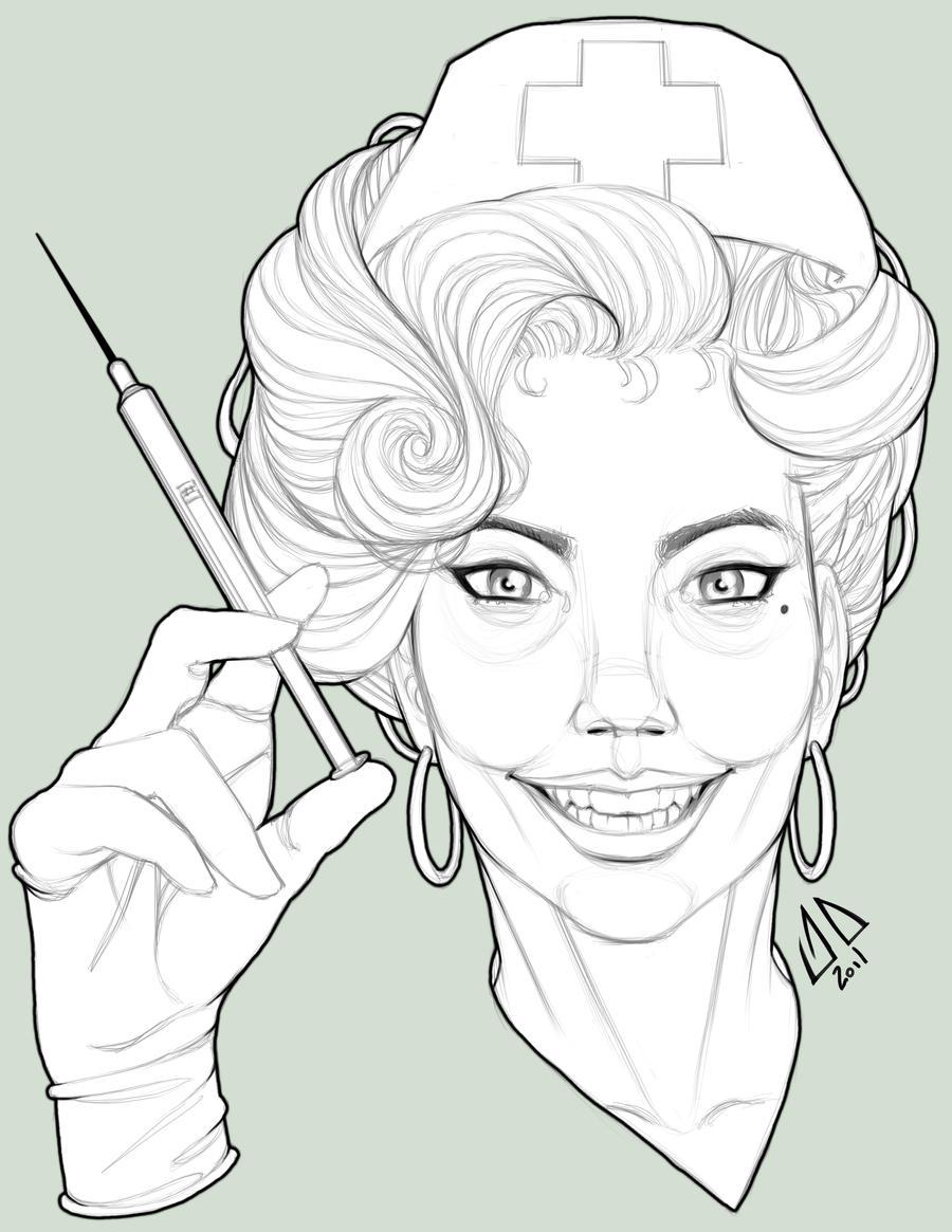 D Line Drawings Not Working : Retro nurse line work by jamesduthie on deviantart