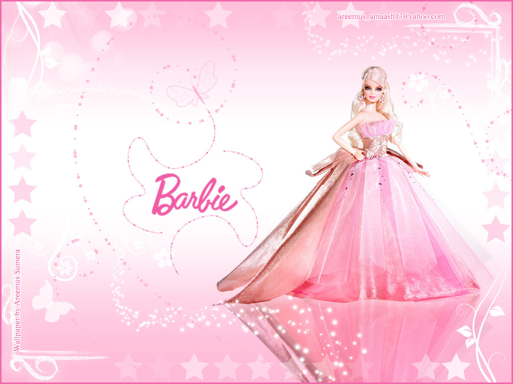 Pink Birthday Cake Barbie Cartoon