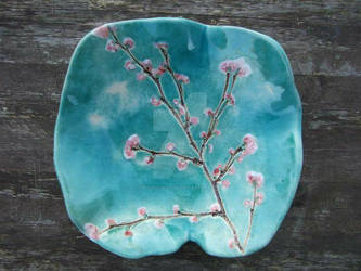 Teal cherry blossom plate