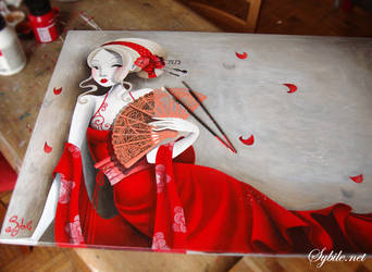 The girl in red in progress by SybileArt