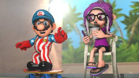Geoff and Lena's Summer Vacation [Splatoon SFM] by OfficialGeofcraze634