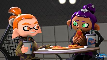 Having Pepperoni Pizza [Splatoon SFM Art Trade]