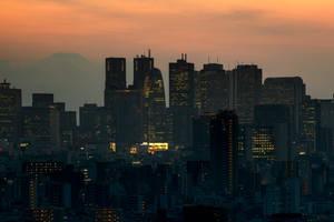 Japan metropolis orange hour by stephane-bdc