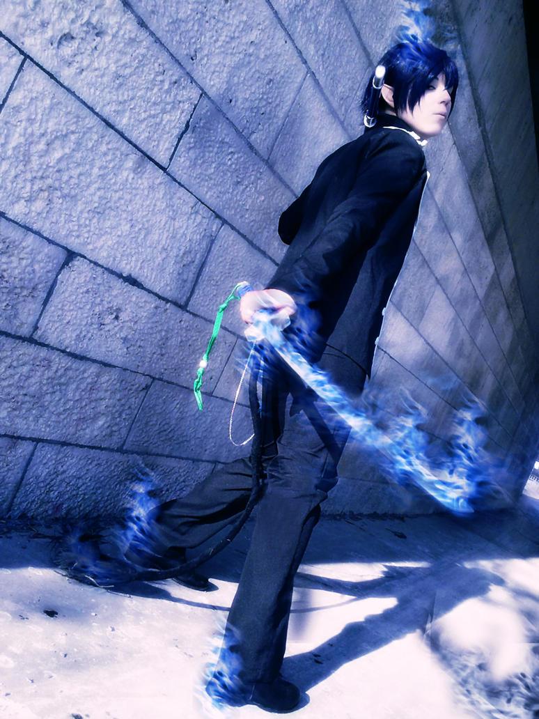 Rin Okumura, Blue Flames Cosplay - Blue Exorcist by K-I-M-I