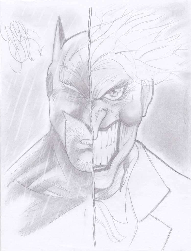 Pencil draw batman and joker by naruto2312