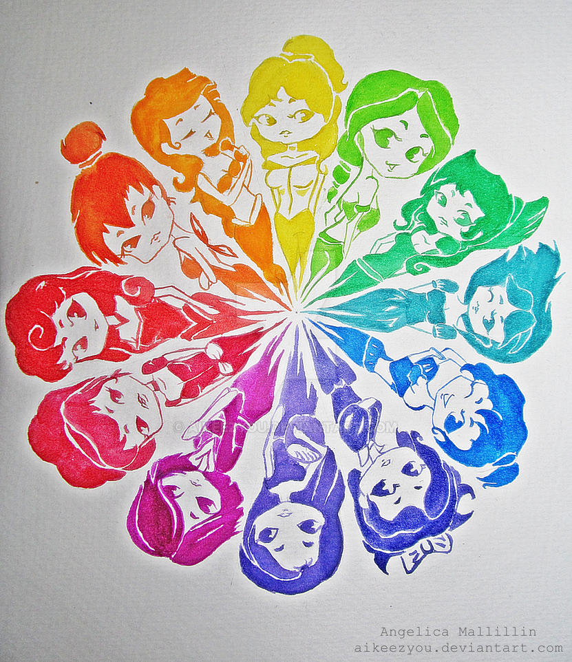 Color Wheel Disney Princesses Inspired By Aikeezyou