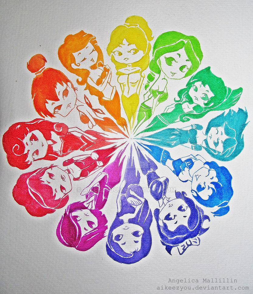 Color Wheel Disney Princesses Inspired By Aikeezyou