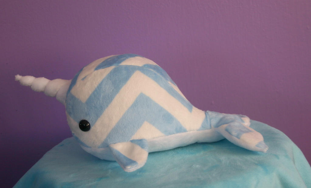 Baby Blue Chevron Narwhal by FollyLolly