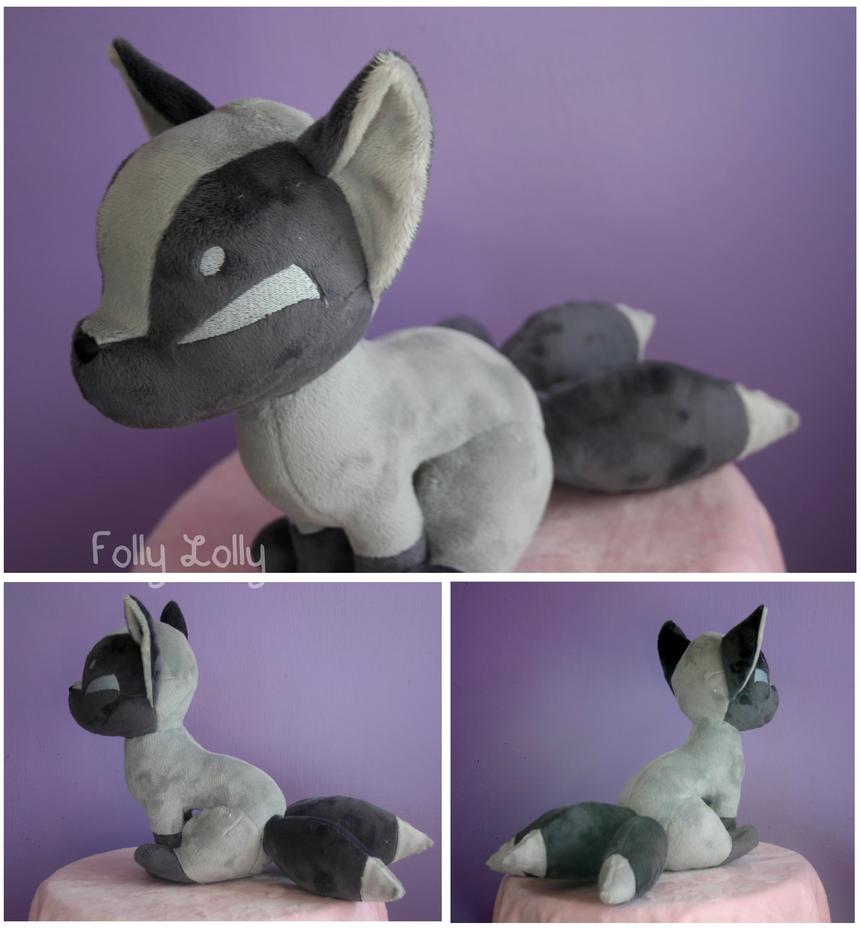 Silver Kitsune Plush by FollyLolly