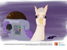 Drawtober 02: A Space Gunsling in a Llama by esmasrico