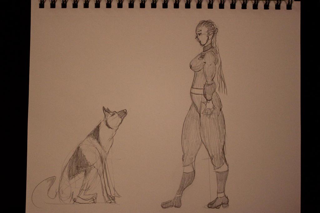 Lu'thea And Dogmeat Sketch 1 by TheSkaldofNvrwinter