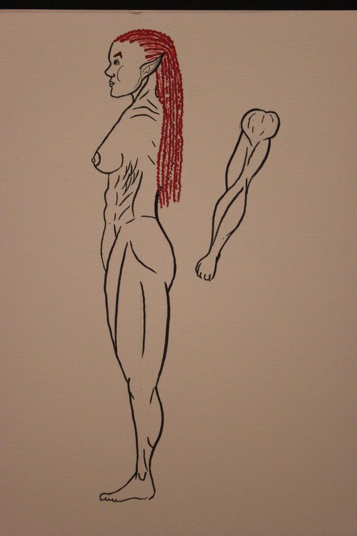 Lu'thea-full Body, Profile - Ink by TheSkaldofNvrwinter