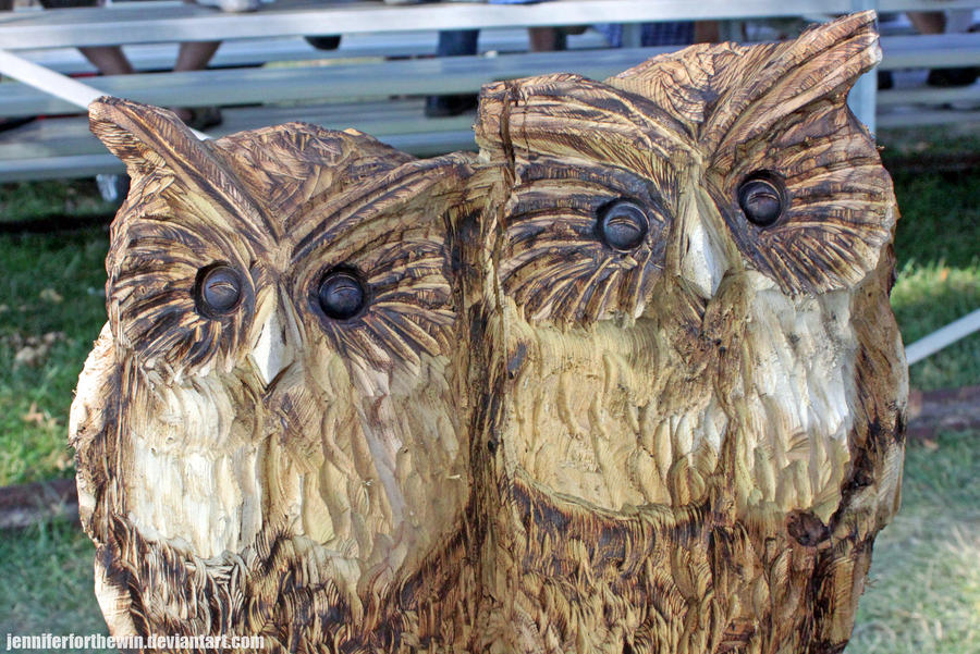 Chainsaw carved owls by jenniferforthewin on deviantart