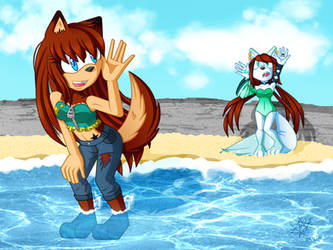 On the seashore by Laurathedog