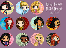 Disney Princess Button Set by IcyPanther1