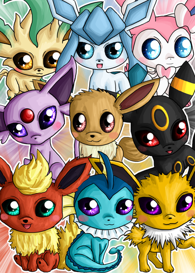 Eeveelution Chibis by IcyPanther1