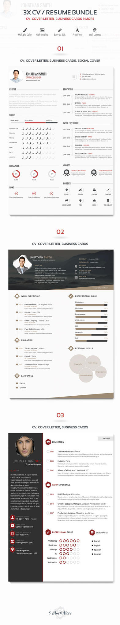 3x CV/Resume Bundle by DSaerox