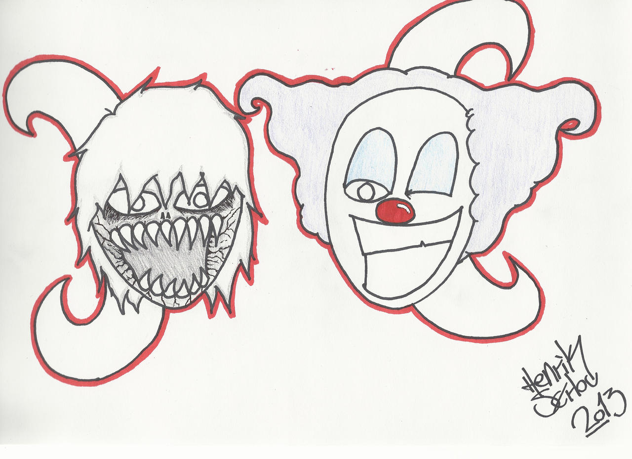 Demon and clown cartoon drawing by RainFTS on DeviantArt