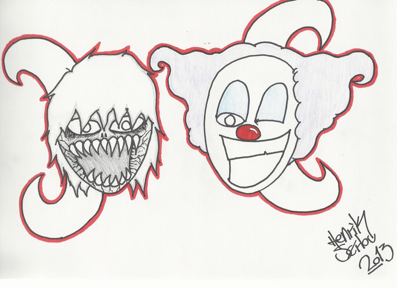 Demon and clown cartoon drawing by RainFTS on DeviantArt