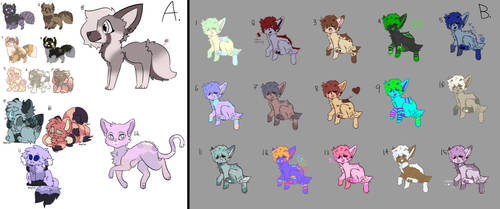 Unsold Adopts!! [OPEN] [OTA] [ALL PRICES LOWERED] by TBPKarma