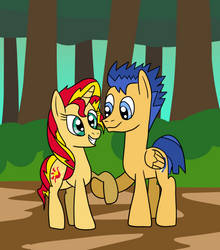 Sunset Shimmer And Flash Sentry - Request by platinumdrop
