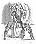 Pirate wench  BW by GekkouJin