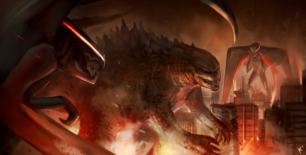 Godzilla Fire Art
