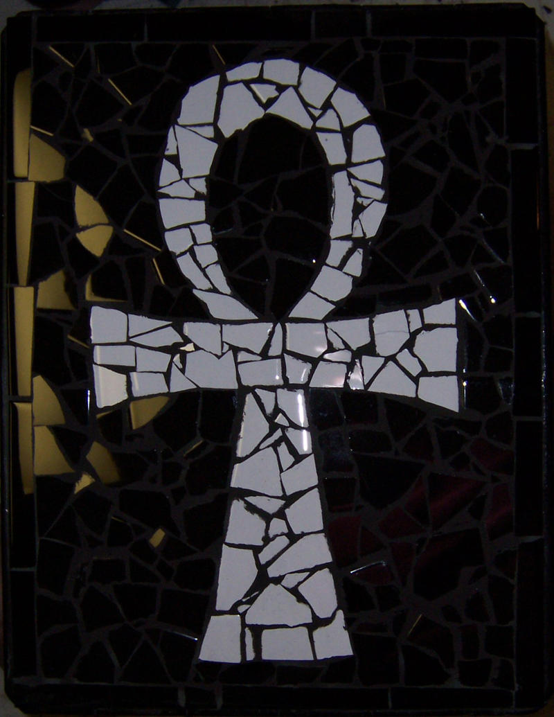 Mosaic Tile Ankh Table--small by alanahawk