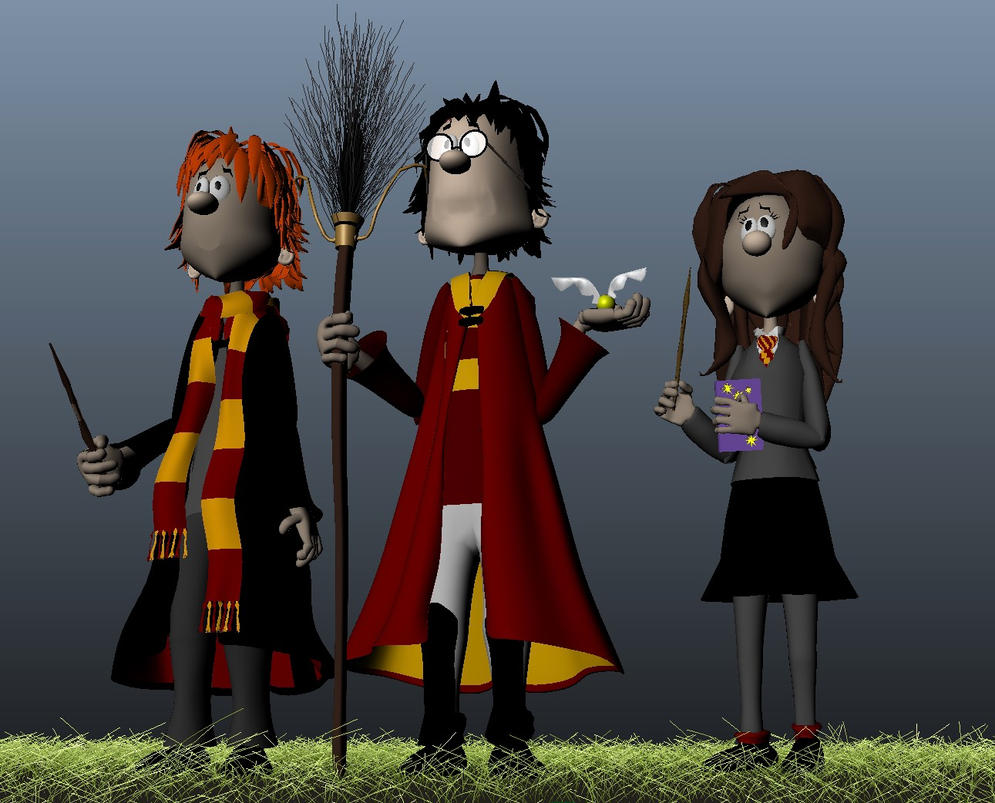 Harry, Ron and Hermione 3d-model/Maya by KatjaFin