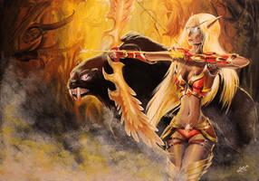 Blood Elf Huntress by SerraArc
