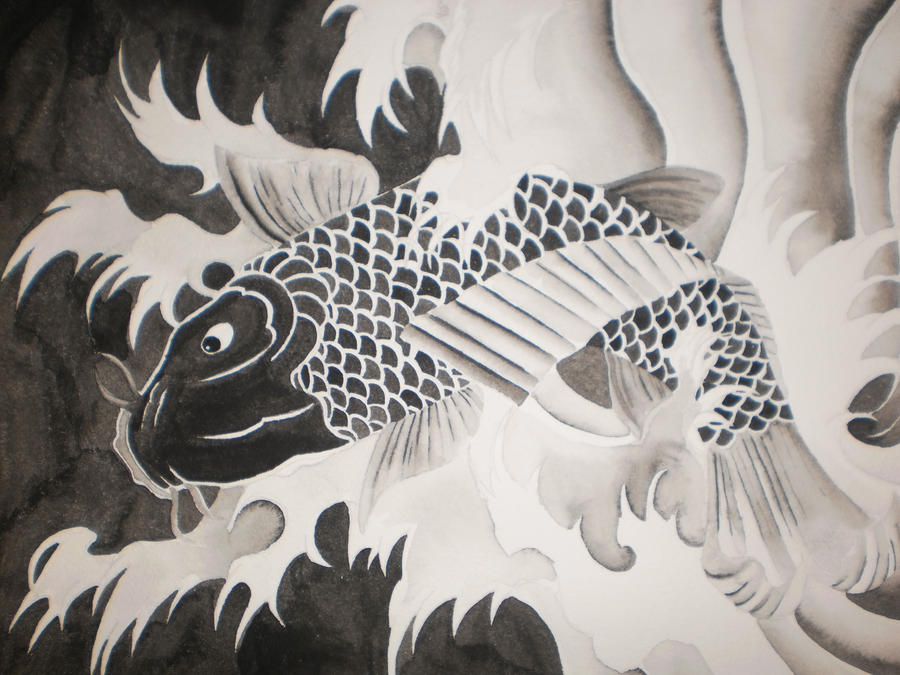 Black and gray koi fish by terrorrising on deviantart for Grey koi fish